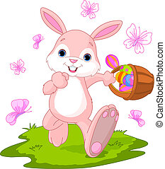 Easter Bunny Hiding Eggs - Vector illustration of Easter...