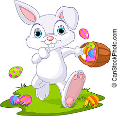 Easter Bunny Coloring Page Hiding Eggs