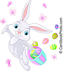 Easter Bunny Hiding Eggs - Illustration of Easter Bunny...