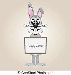 easter bunny hold signboard