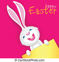 Easter bunny holding Blank Board - illustration of Easter...