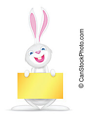 Easter bunny holding Blank Board