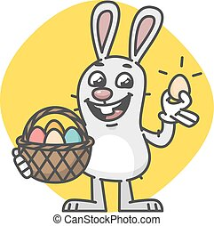 Easter Bunny Holding Egg Basket and Laughs. Vector...
