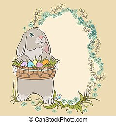 Easter bunny holding eggs