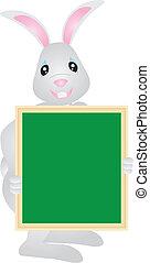 Easter Bunny Holding Signage Illustration