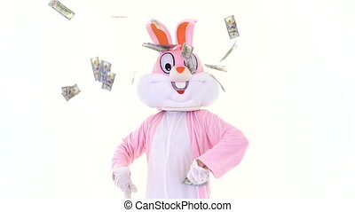 Easter bunny holds fan of dollar under rain of dollars, shows thumb finger up. Easter rabbit with dollars money on white background, celebrate Happy easter
