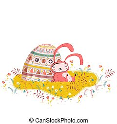 Easter bunny illustration with painted egg