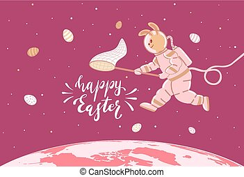 Easter Bunny in a Spacesuit with Eggs - Easter Bunny in a...