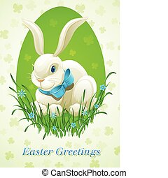 Easter bunny in egg vector illustration isolated on white background