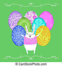 Easter Bunny in Front of  Rows of Easter Eggs
