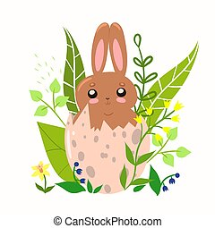 Easter bunny in the egg. Vector graphics.