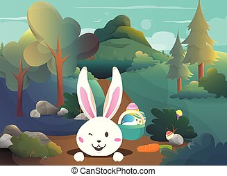 Easter bunny in the forest