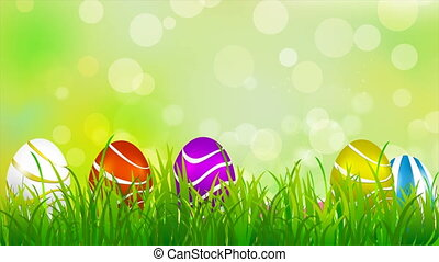 Easter bunny in the meadow between the eggs, art video...
