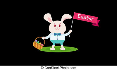 Easter bunny in white shirt holds in paw wicker basket with...