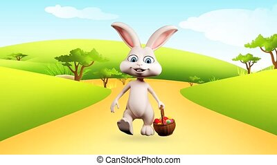 Easter bunny is walking - White bunny is walking with eggs...