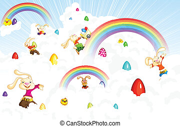 Easter Bunny jumping on cloud - easy to edit vector...