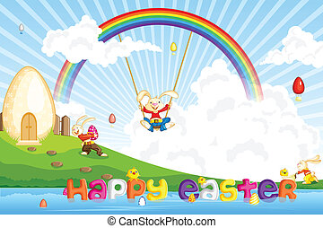 Easter Bunny jumping on cloud