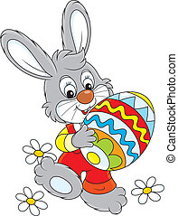 Easter Bunny - Little rabbit carries a big colorfully...