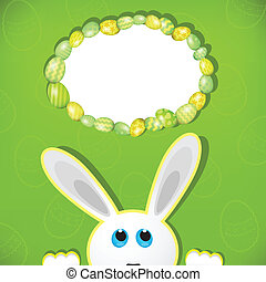 Easter bunny look up in blank space. Easter background.