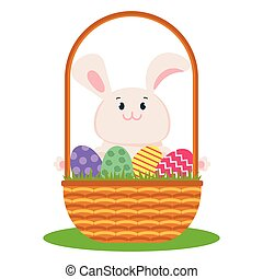 easter bunny on basket with eggs