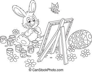 Easter Bunny painter - Black and white vector illustration...