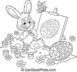 Easter Bunny painter - Happy little rabbit drawing Easter...