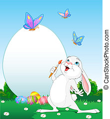 Easter Bunny painting Easter Eggs - llustration of an Easter...