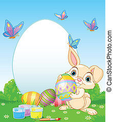 Easter Bunny painting Easter Eggs - Easter Bunny painting...