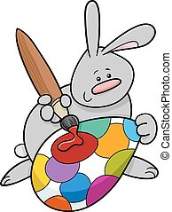 easter bunny painting egg cartoon
