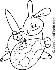 easter bunny painting egg coloring page