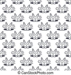 Easter bunny pattern monochrome