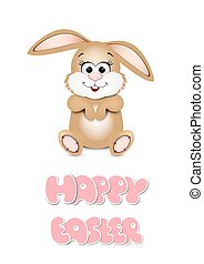 Easter bunny peeking out from the bottom edge of the postcard. H