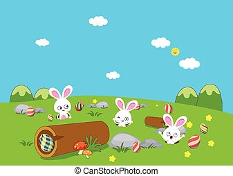 Easter bunny playful with eggs