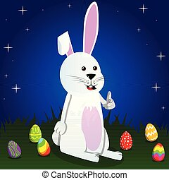 Easter bunny pointing at the viewer with his hand.