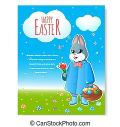 Easter bunny poster with basket-01