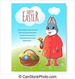Easter bunny poster with basket-02