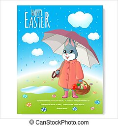 Easter bunny poster with basket-03