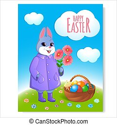 Easter bunny poster with basket-05