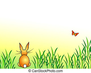 Easter Bunny - rabbit and butterfly - Bunny background...