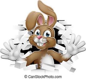 Easter Bunny Rabbit Cartoon Breaking Through Wall