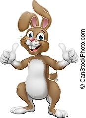 Easter Bunny Rabbit Cartoon Giving Thumbs Up - Easter bunny...