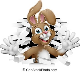 Easter Bunny Rabbit Coming Out of Background