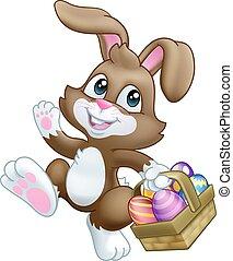 Easter Bunny Rabbit Eggs Basket Cartoon