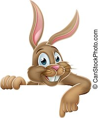 Easter Bunny Rabbit Pointing Cartoon Sign