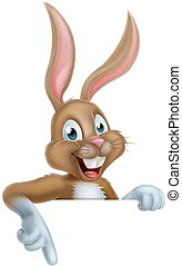 Easter Bunny Rabbit Sign - A happy cartoon Easter bunny...