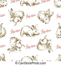 Easter bunny seamless background