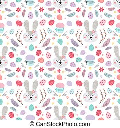 Easter bunny seamless pattern. Pattern with Easter rabbit, eggs, cake, feathers. Design for textiles, packaging, wrappers.Vector flat illustration