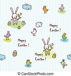Easter bunny, seamless pattern