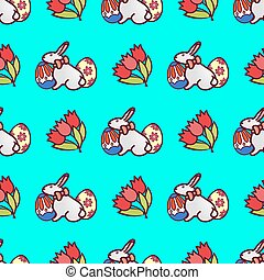 easter bunny seamless pattern3
