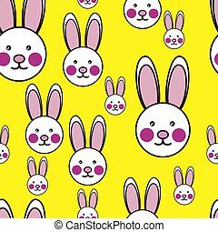 Easter Bunny Seamless Vector Background Print